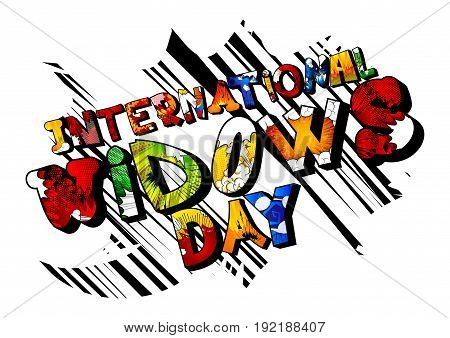 Illustrated banner greeting card or poster for International Widows' Day.