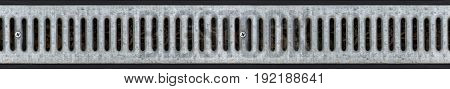 Drainage grating for drain of rain water. Seamless pattern. Isolated seamless texture.