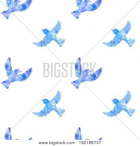seamless pattern with blue watercolor flying birds silhouettes, hand drawn songbirds, nature background