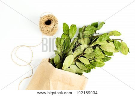 Branches Of Laurel Bay Leaves In Paper Bag