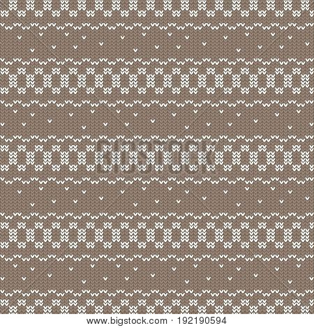 brown and white circle loop and curved striped with spot knitting pattern background vector illustration image