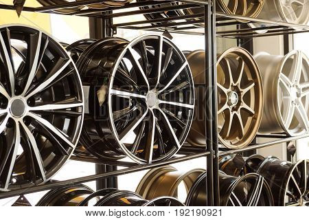 Car alloy wheels with different design on the shelf
