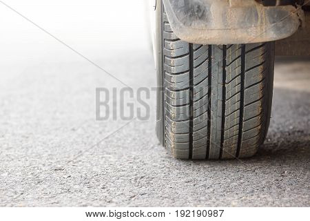 New tire full of tire tread / Checking tire depth for road safety concept