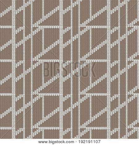 brown and white diagonal box abstract knitting pattern background vector illustration image