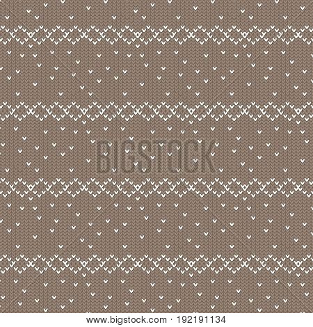 brown and white diamond row with spot knitting pattern background vector illustration image