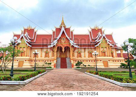 Wat Pha That Luang, Vientiane, Laos on cloudy day