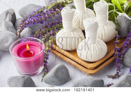 thai herbal compress massage with sage flowers - beauty treatment
