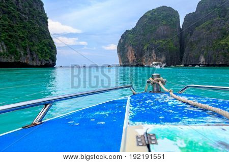 speed boat and blue water at Maya bay in Phi Phi Island Krabi Thailand