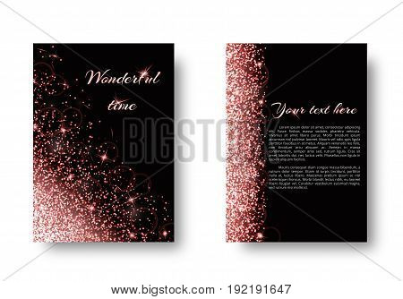 Glitter background with twinkle lights. Sequins vector on a black backdrop.