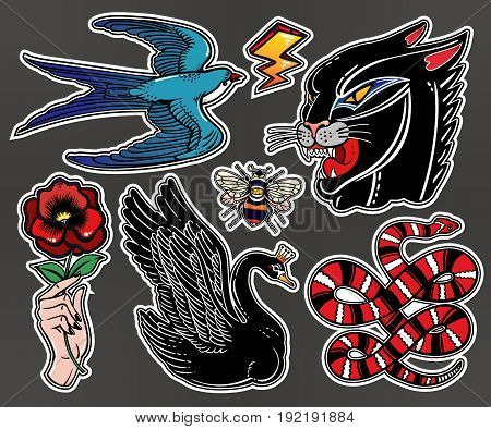 Set of animals and items in classic flash tattoo style patches or elements. Set of traditional stickers, pins, in 90's comic style. Pop art items. Fashionable vector collection, vintage stikers kit.