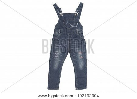 Black denim bib for kids isolated on white