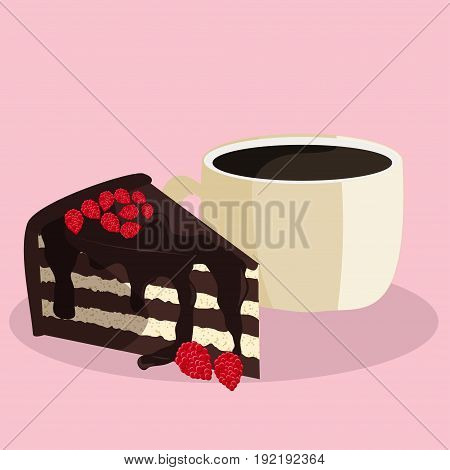 Coffee and cake illustration.  Vector art of tasty dessert and coffee.