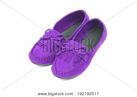 A pair of red moccasins isolated on white