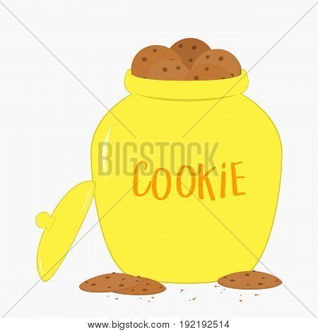 cookies inside a big yellow cookie jar vector, in white background