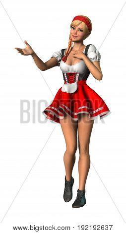 3D Rendering Octoberfest Girl On White