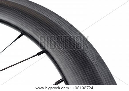 Closeup of a carbon wheel for road bicycle isolated