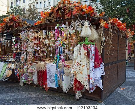 Prague - September 24 2016: Traditional czech handmade souvenirs for sale at Havel's market.