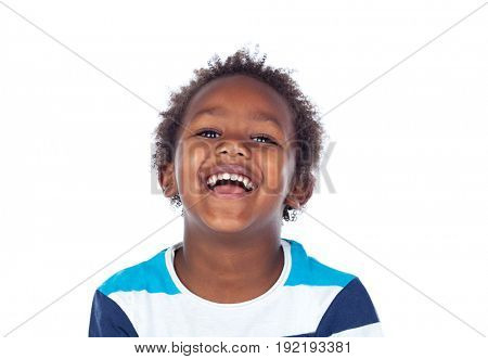 African child laughing isolated on white background