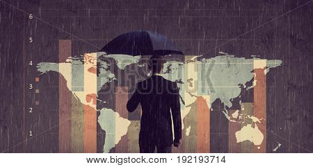 Businessman with umbrella standing over column diagram background. Business, crisis, default concept.