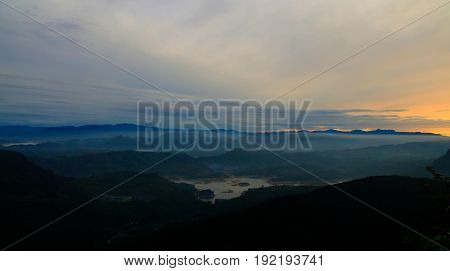 Sunrise landscape over the Adams peak aka Sri-Pada in Sri-Lanka