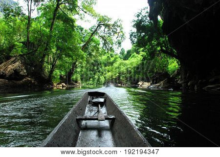 A boat ride through the Kong Lor Cave in central Laos