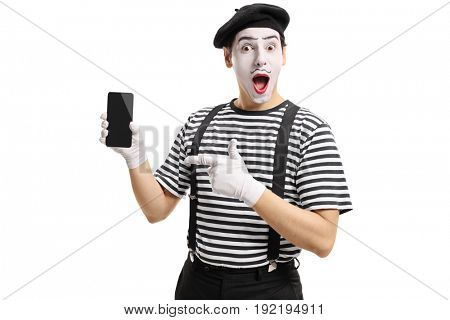 Mime showing a phone to the camera and pointing isolated on white background