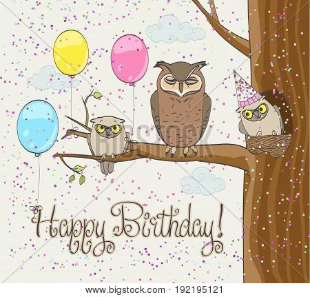 funny birthday card with owls family balloons and confetti