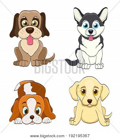 set of cartoon puppy dogs. simple vector illustration