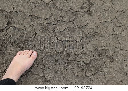 Bare foot standing on a cracked and dried dirt ground