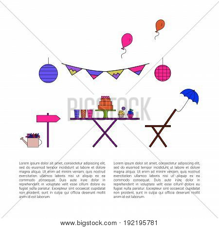Garden party design concept. Vector illustration. Birthday party collection. Outdoor happy holidays.