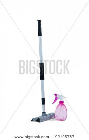 Squeegee mop with cleaning spray bottle on a white background