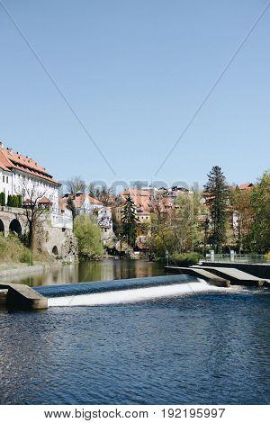 View of Cesky Krumlov in Czech Republic, Vltava River