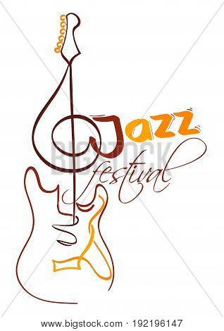 jazz festival design with electrical guitar and g clef as neck. vector illustration