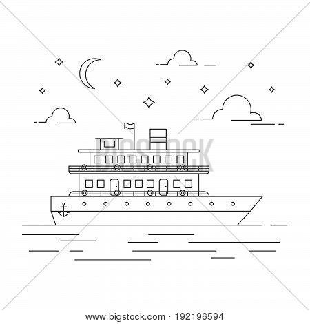 Vector Sea Landscape Illustration With Cruise Ship.