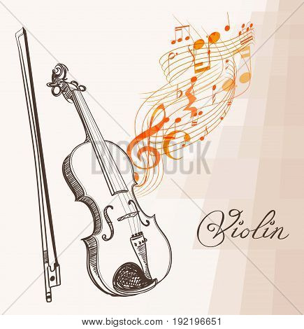 piano line art hand drawn and flowing musical lines clef and notes. vector illustration.