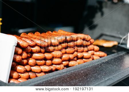 Grilled sausages, street food