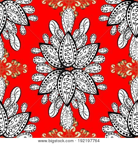 Seamless classic golden pattern. Vector traditional orient ornament. Golden pattern on red background with golden elements.