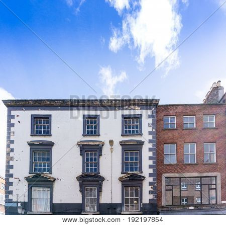 Traditional antique city building in Dublin Ireland