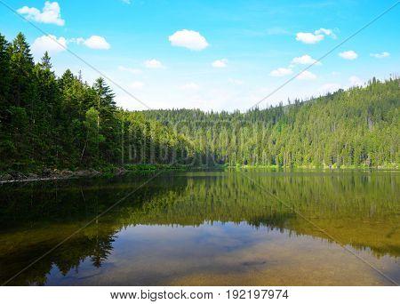 Devil`s Lake in the National park Sumava,Czech Republic.
