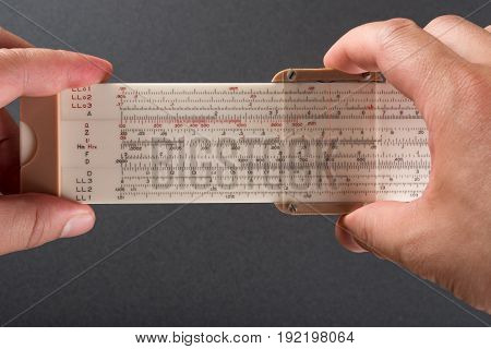 engineer using a professional vanitation pipe ruler