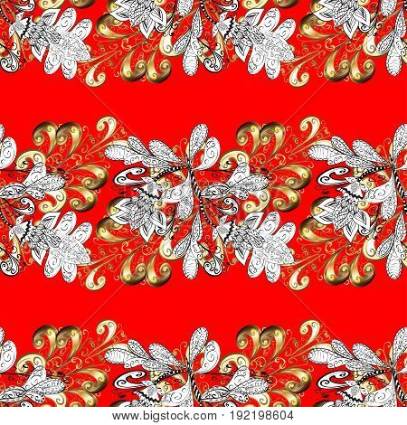 Abstract sketch wrapping decoration. Golden snowflake seamless pattern. Vector golden pattern on red background with golden element. Winter symbol Merry Christmas holiday Happy New Year 2018.