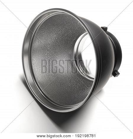 standard reflector for stuido flash on white background