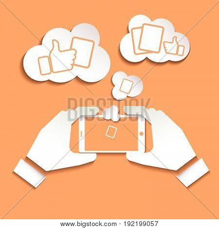 Smart phone icon  Smart phone icon web Smart phone photo . Smartphone icon object. Taking a selfie photo flat design on orange background