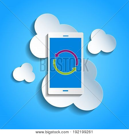 Upload data concept. Smartphone synchronizing data with the