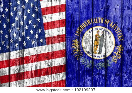 Flag of US and Kentucky painted on wooden frame