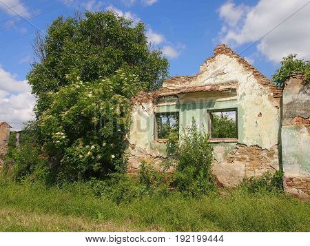 A broken house in a deserted village.