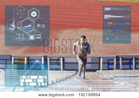 fitness, sport and people concept - man running upstairs on stadium