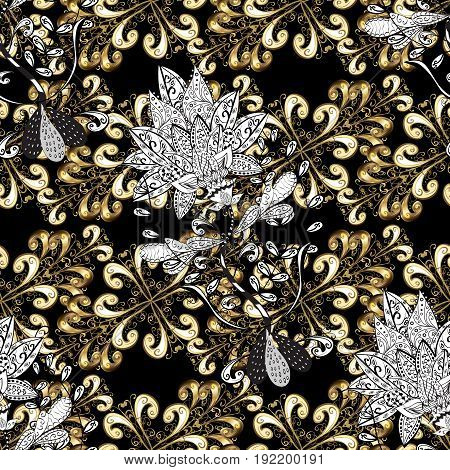 Golden element on black background. Luxury royal and Victorian concept. Ornate vector decoration. Vintage baroque floral seamless pattern in gold over black.