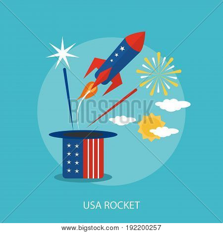 USA Rocket Conceptual Design | Set of great flat design illustration concepts for region, state, usa, independence and much more.