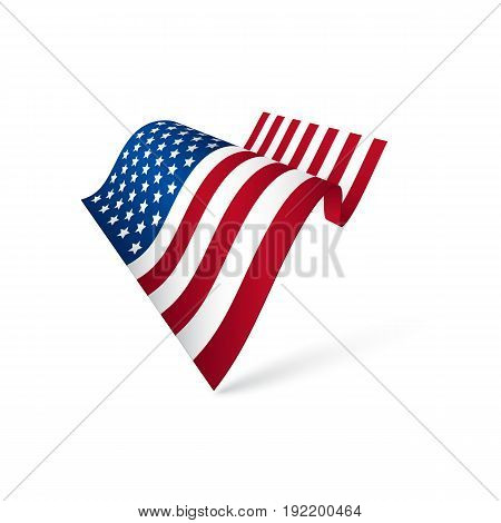 American flag waving isolated on white background. Vector illustration.